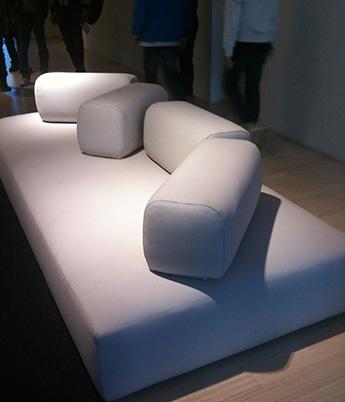 hinged cushions on sofa