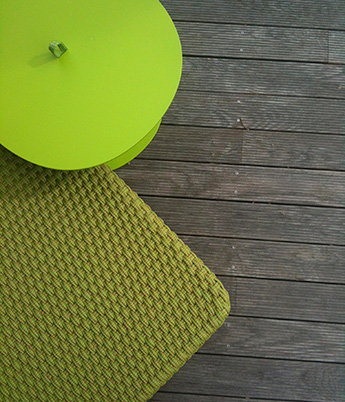 acid green, table and chair